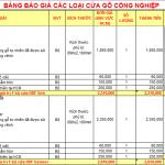 Bảng giá Cửa gỗ công nghiệp các loại.
